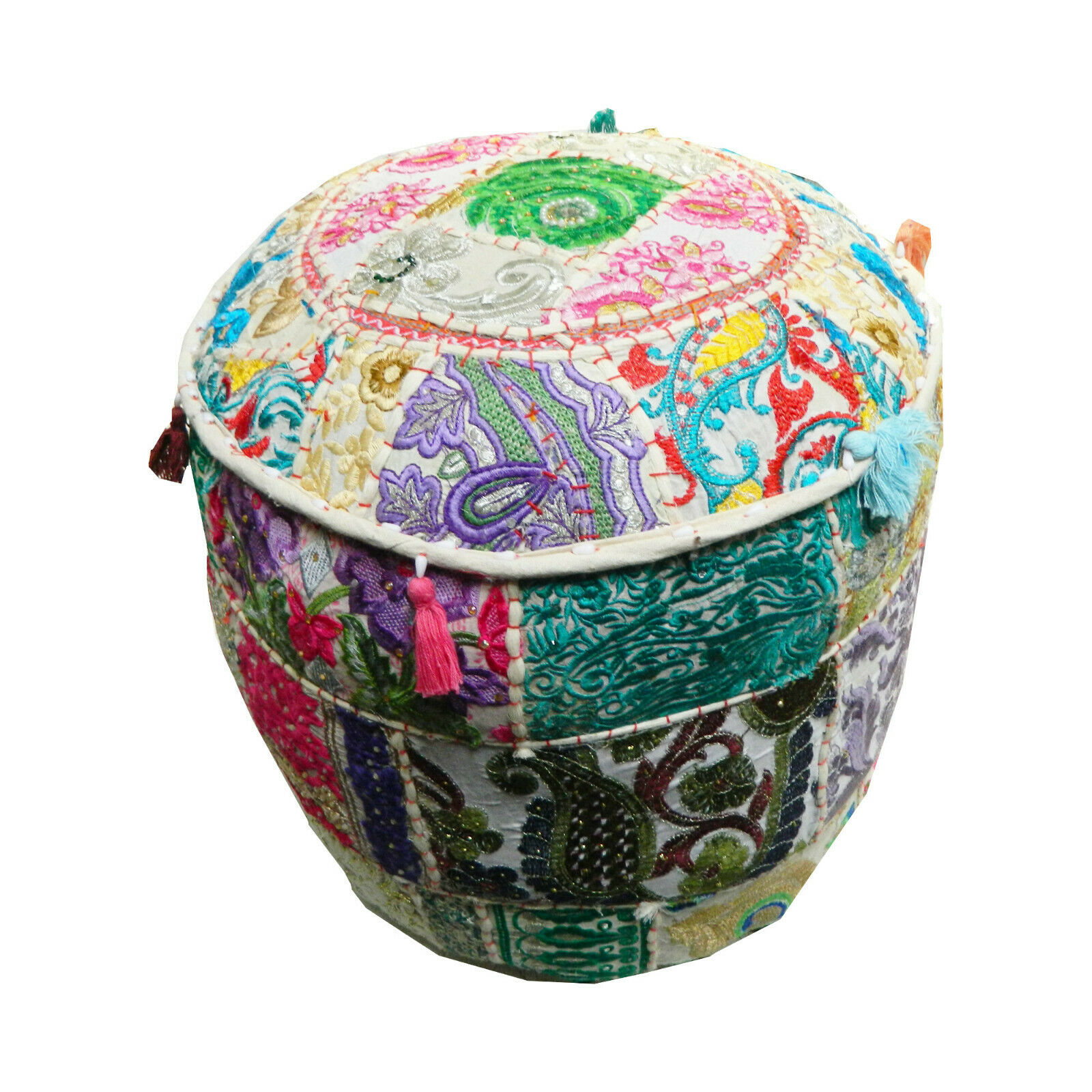 Indian Stool Round Floor Cushion Cotton Patchwork Rattan Seat Basket For Sale