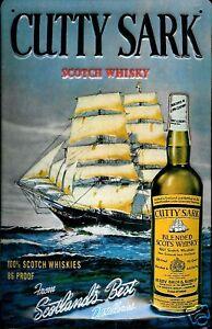 Cutty-Sark-Whisky-Letrero-de-Metal-3D-en-Relieve-Arqueado-Cartel-Lata-20-X-30CM