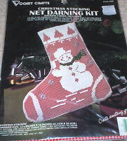 Happy Snowman Net Darning Christmas Stocking Kit Nip 12.5x14