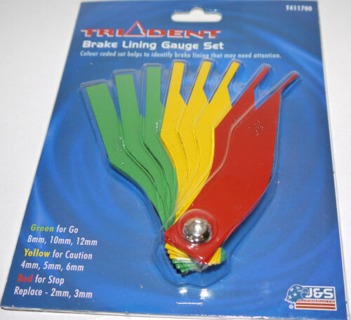 Trident tools T411700 8pc brake lining//disc pad gauge set