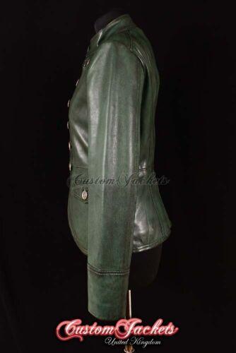 Donna Parata Militare Giacca in Pelle Verde Scuro Designer Giacca con borchie rock