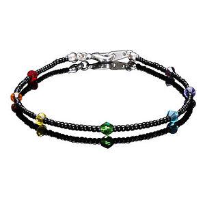 Sterling Silver Chakra Swarovski Crystal Elements and Black Seedbead Anklet