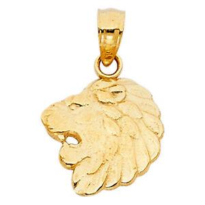 14K-Solid-Yellow-Lion-Head-Pendant-Face-Necklace-Charm-Men-039-s-Women-039-s
