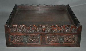 Collect-rare-old-chinese-huanghuali-wood-hand-carved-pattern-statue-storage-box
