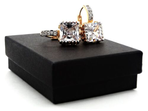 Real Enchapado En Oro Amarillo Blanco Grande de princesa pendientes de Gema Caja De Tono Plata De Aro
