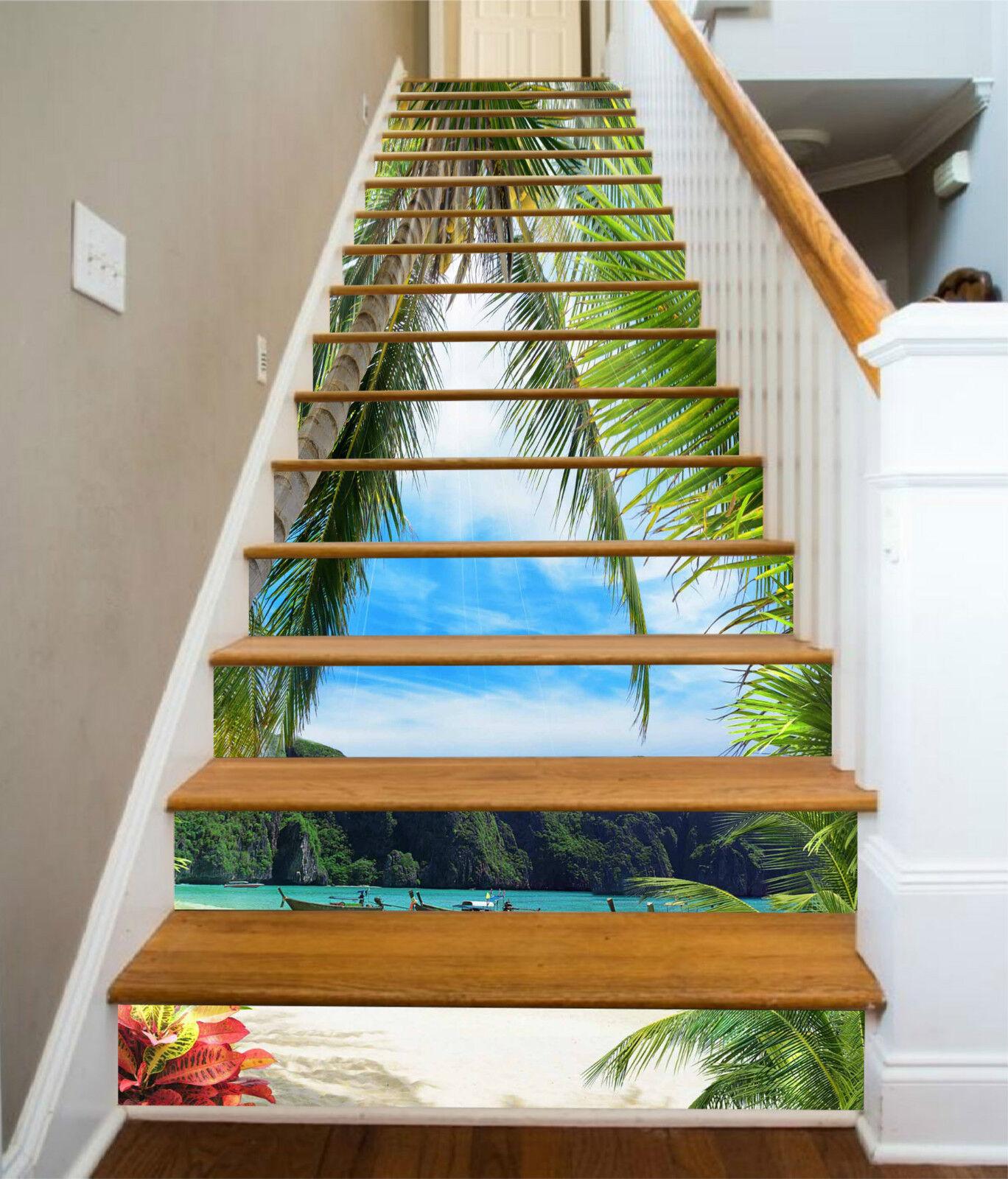 3D Strand Boot 694 Stair Risers Dekoration Fototapete Vinyl Aufkleber Tapete DE