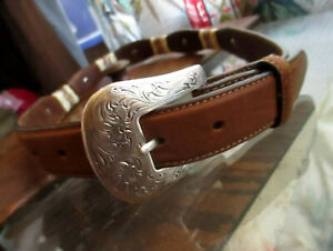 Details About 24 Womens TONY LAMA WESTERN SOUTHWESTERN CONCHO COWBOY LEATHER Belt