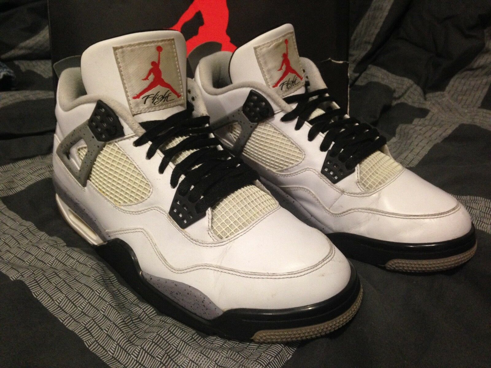 """2018 Nike Air Jordan Retro 4 """"White Cement"""" Red Grey Black 308497-103 Comfortable The latest discount shoes for men and women"""