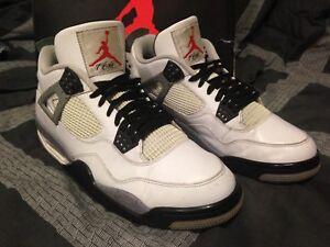 "214b65faecbb 2011 Nike Air Jordan Retro 4 ""White Cement"" Red Grey Black 308497 ..."