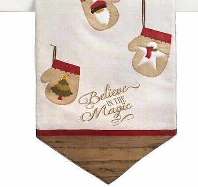 """Holiday Table Runner Believe in the Magic Stockings Tan 13"""" X 36"""""""
