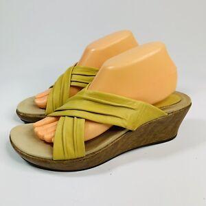 Dansko-Women-039-s-size-41-10-5-11-US-Sunflower-Yellow-Leather-Cross-Wedge-Sandals