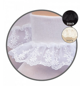 JEFFERIES Delicate Chantilly Lace Ankle Socks 1 to 10 Years White Black Ivory