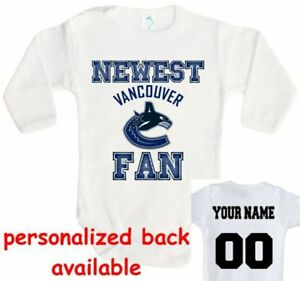 69754a9eead Image is loading Baby-bodysuit-Newest-fan-Vancouver-Canucks-hockey-One-