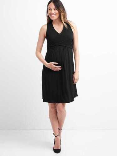 Gap Wrap Dress Black Maternity Sz 1422b4 L Fqq841Prw