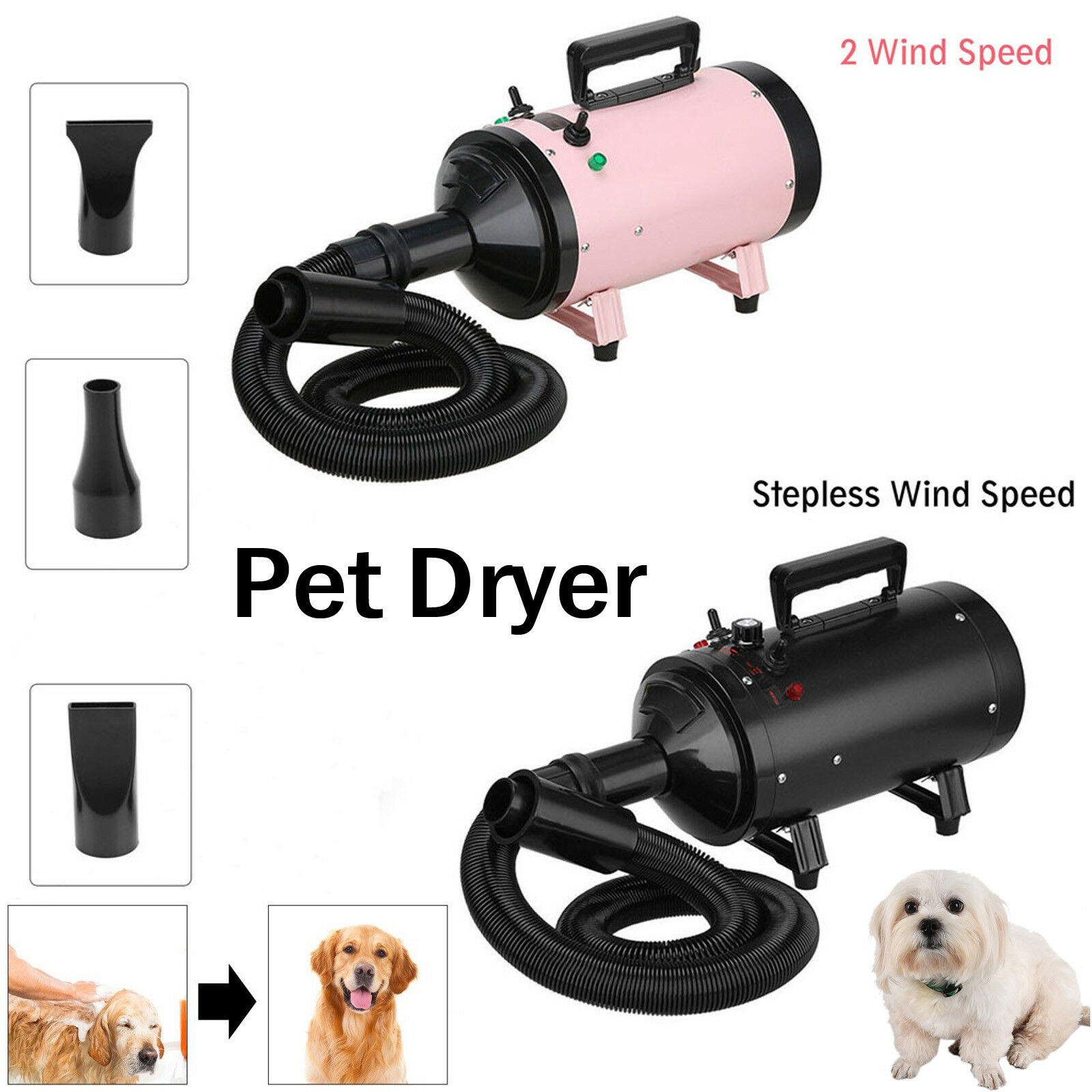 2800W Dog Cat Pet Grooming Hair Dryer Hairdryer Blaster Low Noise Blower Heater