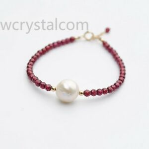 Natural-Round-Garnet-facet-4mm-White-Kasumi-Pearl-Single-Strand-Bracelet