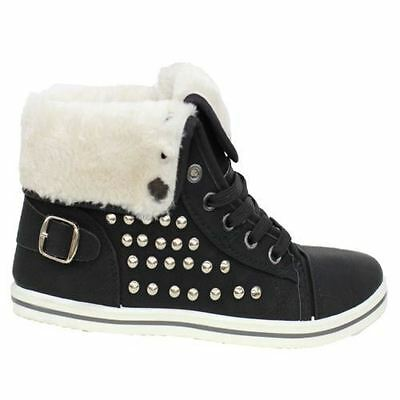 WOMENS FUR LINED WINTER BOOTS LADIES HIGH TOP ANKLE SHOE GIRLS GRIP SOLE TRAINER