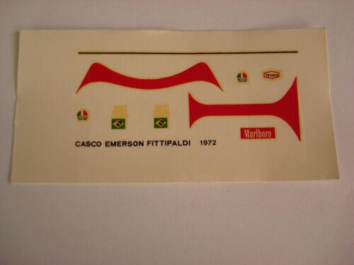 DECALS KIT 1//12 EMERSON FITTIPALDI F1 COPERSUCAR HELMET DECAL F1