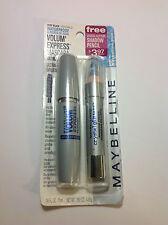 Maybelline Volume Express Waterproof Mascara VERY BLACK + Bonus Shadow BLUE NEW.