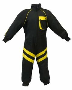 Kids-Childrens-Mechanic-Style-Pit-Crew-Speed-Demon-Overalls-Black-Yellow-T