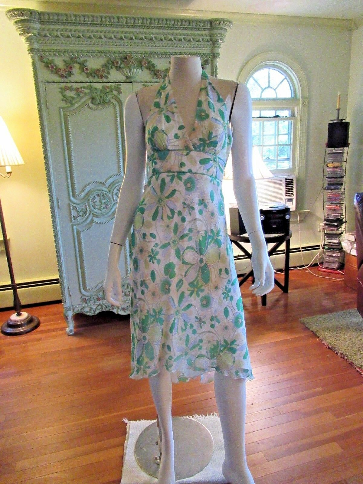 LAUNDRY BY SHELLI SEGAL DRESS,NWT,  2, 100% SILK, HALTER  FLORAL, ASYMMETRICAL