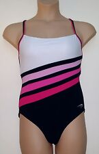 NEXT BLACK WHITE PINK CROSS BACK SWIMMING COSTUME WITH HIDDEN BRA SUPPORT 14-16