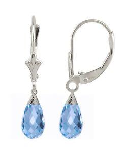 Creaetd Blue Topaz 1.20 Carat 10K WG Briolette Earrings