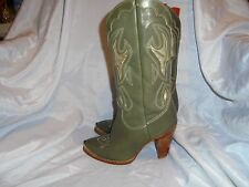 ZODIAC WOMEN'S OLIVE LEATHER WESTERN/COWBOY BOOT SIZE UK 3.5 EU 36.5 US 6.5 M