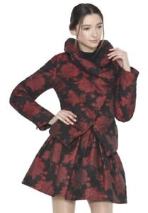 Olivia S Neck High Wendell Jacquard Nwot Size Alice Black Coat Red Down gWAU7dnq