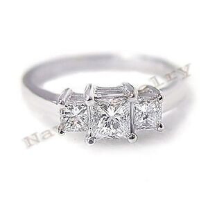 1-14-Ct-Princess-Cut-3-Stone-Diamond-Engagement-Ring-14k-Gold-Size-Selectable