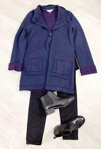 East-Jumper-Blazer-Size-12-100-Wool-Navy-Blue-Pockets-Long-Sleeve