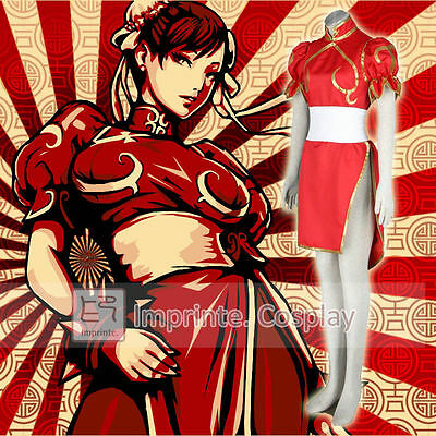 Game Street Fighter Chun Li Red Outfit Dress Cosplay Costume