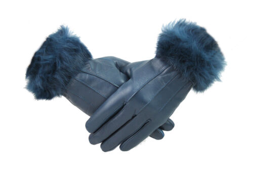 Womens Ladies Blue Leather Gloves With Fur Trim Fleece Lined Warm Winter Xmas