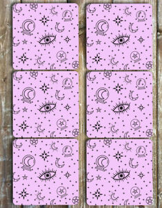 Mystical Witch Drink Coasters Set of 6 Non Slip Neoprene Coasters