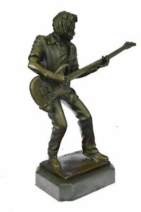 Bronze-Sculpture-Black-Entertainer-Jazz-Guitar-Player-Hot-Cast-Home-Decor-Sale