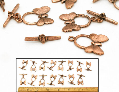 """3//4/"""" wide Bali Style SOLID COPPER Bar and Ring BUTTERFLY Toggle Clasps 15 sets"""