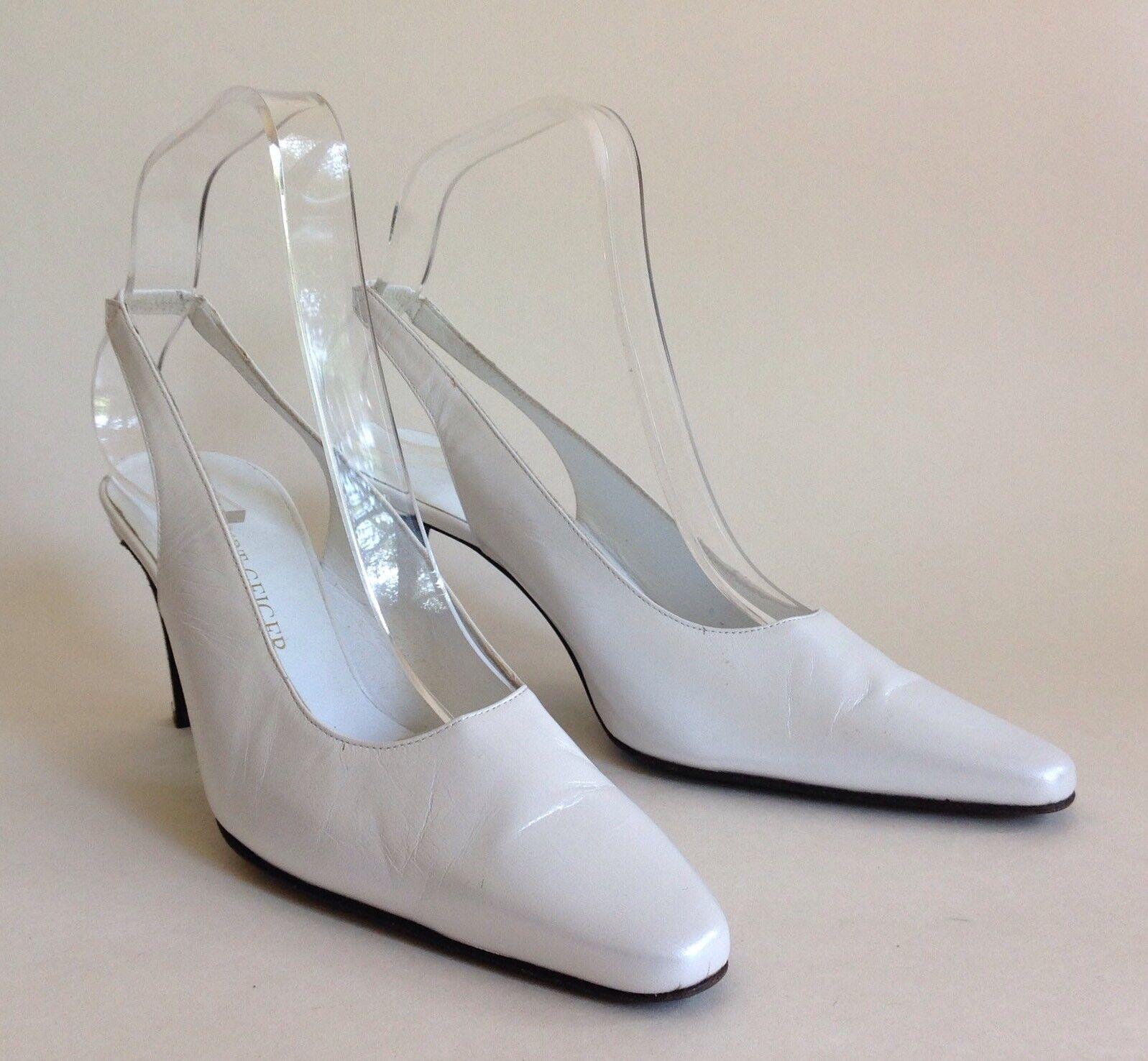 Kurt Geiger Slingback shoes UK 3.5 Pearl White Leather 3.25  Slim Heel Wedding
