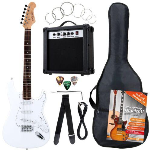 8-Teile Rocktile Bangers Pack E-Gitarren Set mit Verstärker Gigbag Gurt Weiß