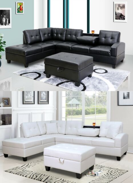 3Pc Pu Leather Living Room Sectional Sofa Set with Ottoman in Black/ White