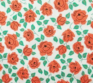 White-Green-Coral-Orange-Roses-Cotton-Quilt-Fabric-Windham-Sweet-Floral-Summer