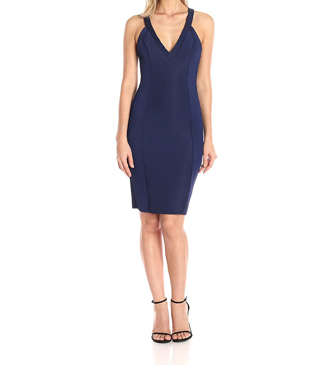 Guess Womens bluee Ribbed Sleeveless Bodycon Party Dress 10