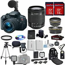 Canon Rebel T5i Value Video Bundle+18-55mm STM+Mini Video Light+W/A+Tele+EXTRAS!