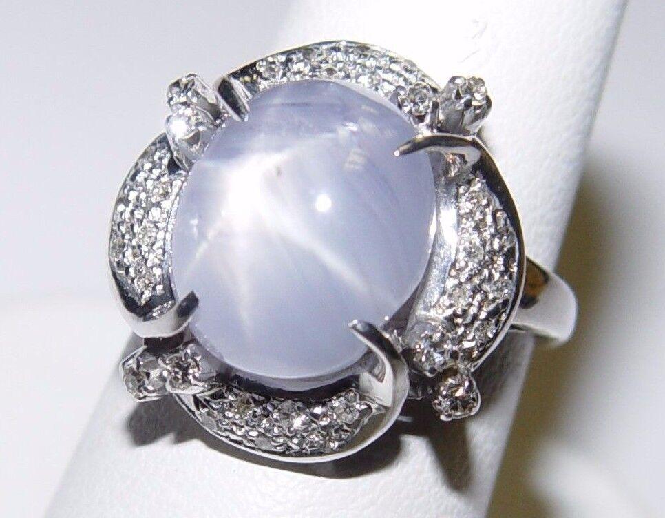 Vintage 13.25CT Star Sapphire & 0.32CT(est.) Diamond Ring 18K gold