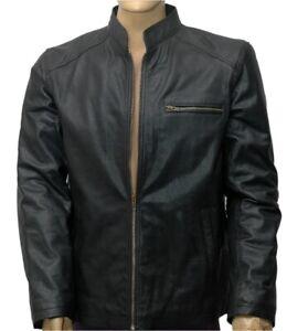 Nuevo-Para-hombres-Cuero-100-Real-Moto-moto-Color-Negro-Chaqueta-Tamano-L-1