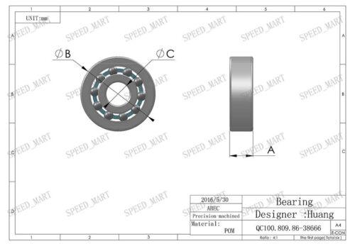 2 PCS Plastic Bearing POM 624 Glass Balls 4x13x5 Ball Bearings