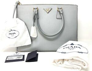 331b4073246811 PRADA Saffiano Lux Large Double Zip Tote 1BA786 Grey Women's Handbag ...