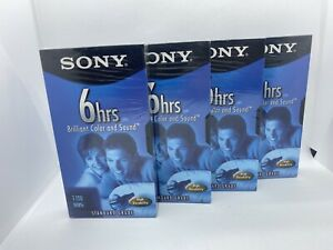 SONY Premium Grade T-120 6 HRS VHS Blank Video Tapes Lot of 4 New Sealed  2B