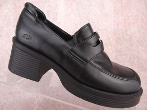 Vtg-90s-Skechers-Black-Chunky-Heel-Platform-Goth-Rave-Club-Pump-Shoe-US-5-5-UK-3