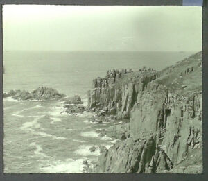 42-Lantern-Glass-Slide-Rocks-Cliffs-near-Land-039-s-End-Cornwall-Photo-pre-1920s