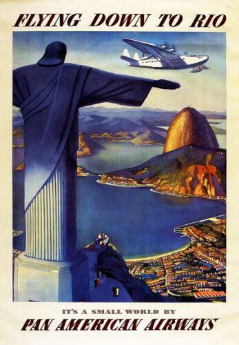 "Tt4 Vintage Flying hasta Rio Viajes Airlines Poster volver a imprimir A3 17 /""x12/"""